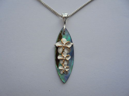 Surfboard with 3 Frangipani Flower Pendant