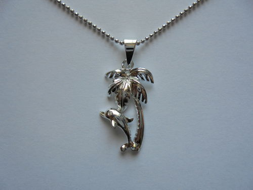 Dolphin with Palm Tree Pendant