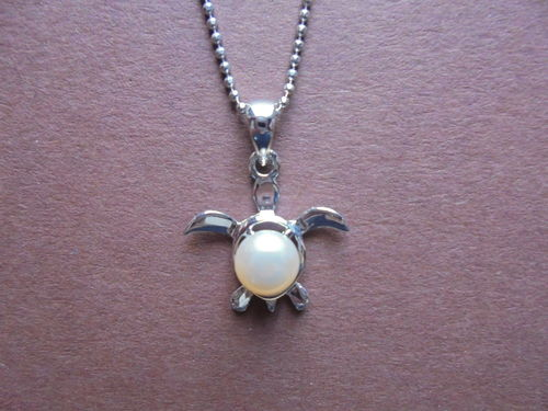 Turtle with Pearl Pendant