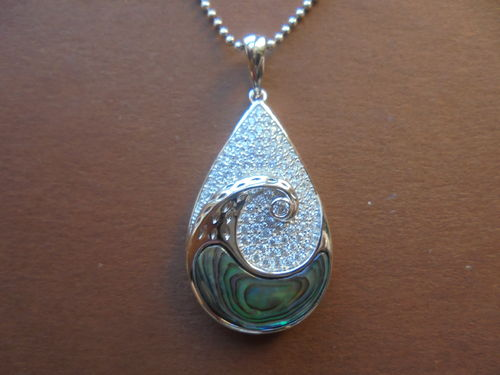 Waterdrop Pendant with Abalone Inlay and Zirconia