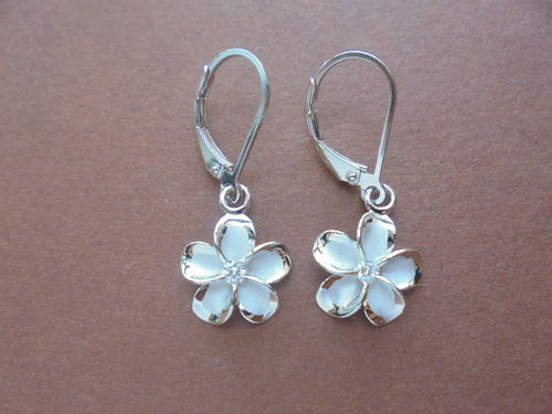 Rhodium Plumeria Ohrring 12mm